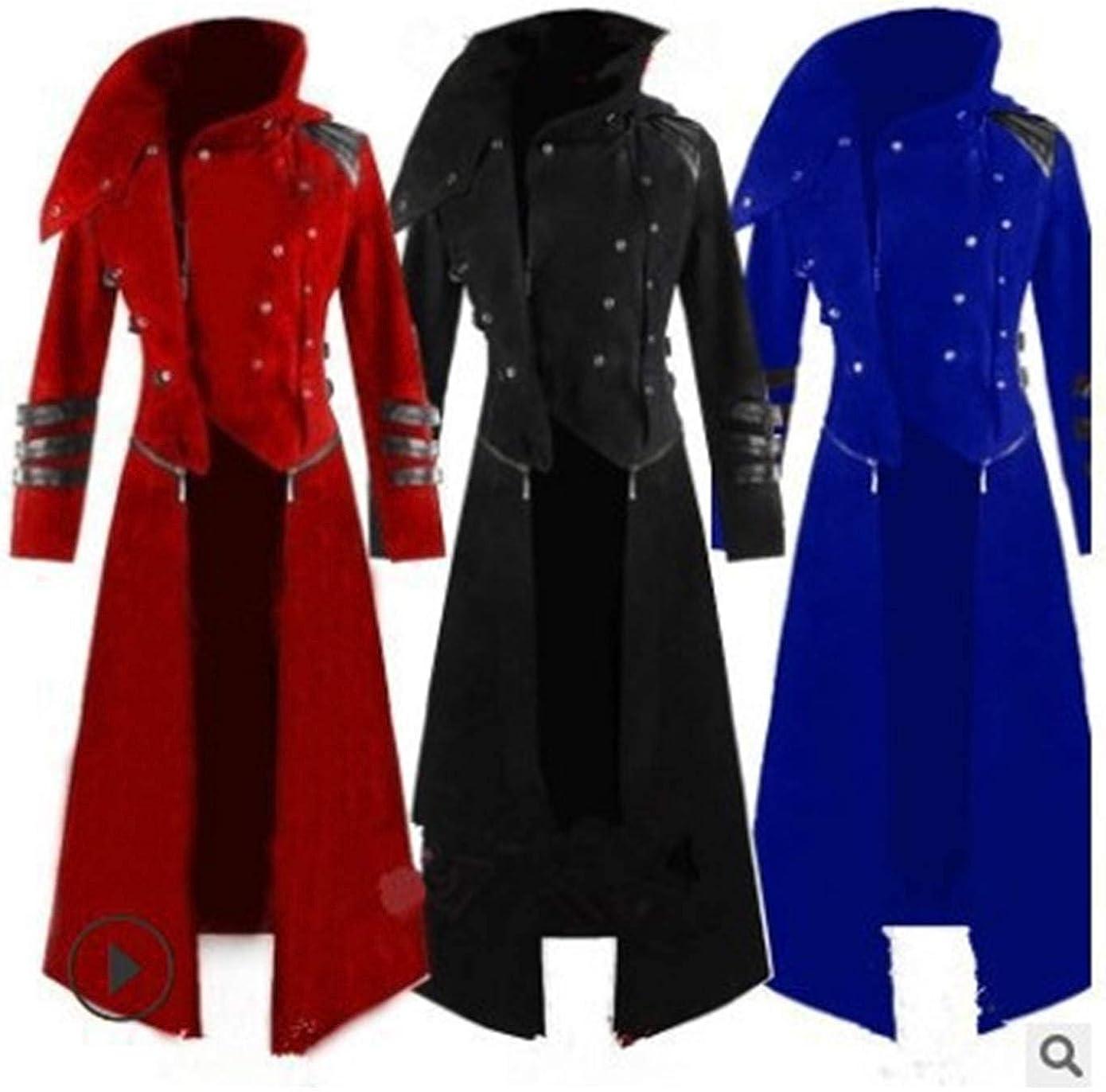 Black Full Length Men/'s Vintage costume Cotton Velvet Trimmed Steampunk Coat