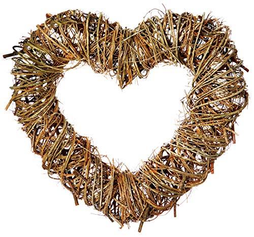 Corona de mimbre para manualidades de Navidad, diseño de flores y corazones de Navidad, 35 cm