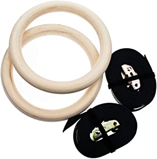 Excefore Gymnastic Rings Gym Rings Olympic Ring Wooden with Adjustable Buckles Straps 28MM Great for Workout Home Gym Body...