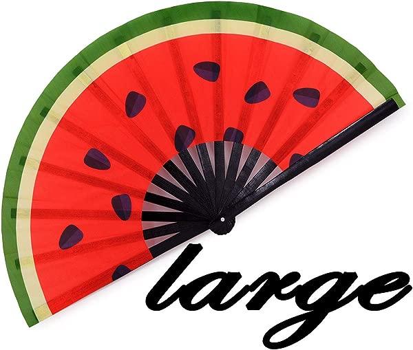 Meifan Large Rave Folding Hand Fan For Women Men Chinese Japanese Bamboo Fan Hand Fan For Festival Dance Gift Performance Decorations Watermelon