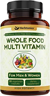 Whole Food Multivitamin for Men & Women-Daily Vitamin for Men and Women with Organic Fruits, Probiotic Digestive Enzymes Vitamin E, A, B Complex Ginkgo Bilboba Ceylon Cinnamon Turmeric wholefood