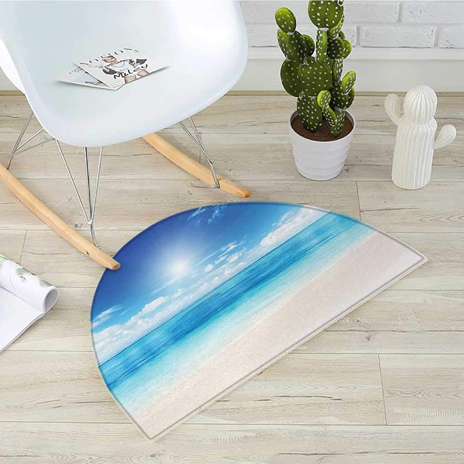 Ocean Semicircle Doormat Beach View from Caribbean Sea in a Sunny Day Exotic Summer Season Print Halfmoon doormats H 35.4  xD 53.1  Cream Turquoise White