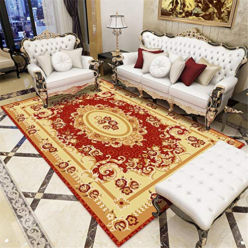 Teppiche Fleckenbeständig Wohnzimmer Teppich Roter gelbbrauner schöner Blumenmuster-Wohnzimmerteppich im europäischen Stil Hygroskopisch Weich Teppich 140 * 200cm