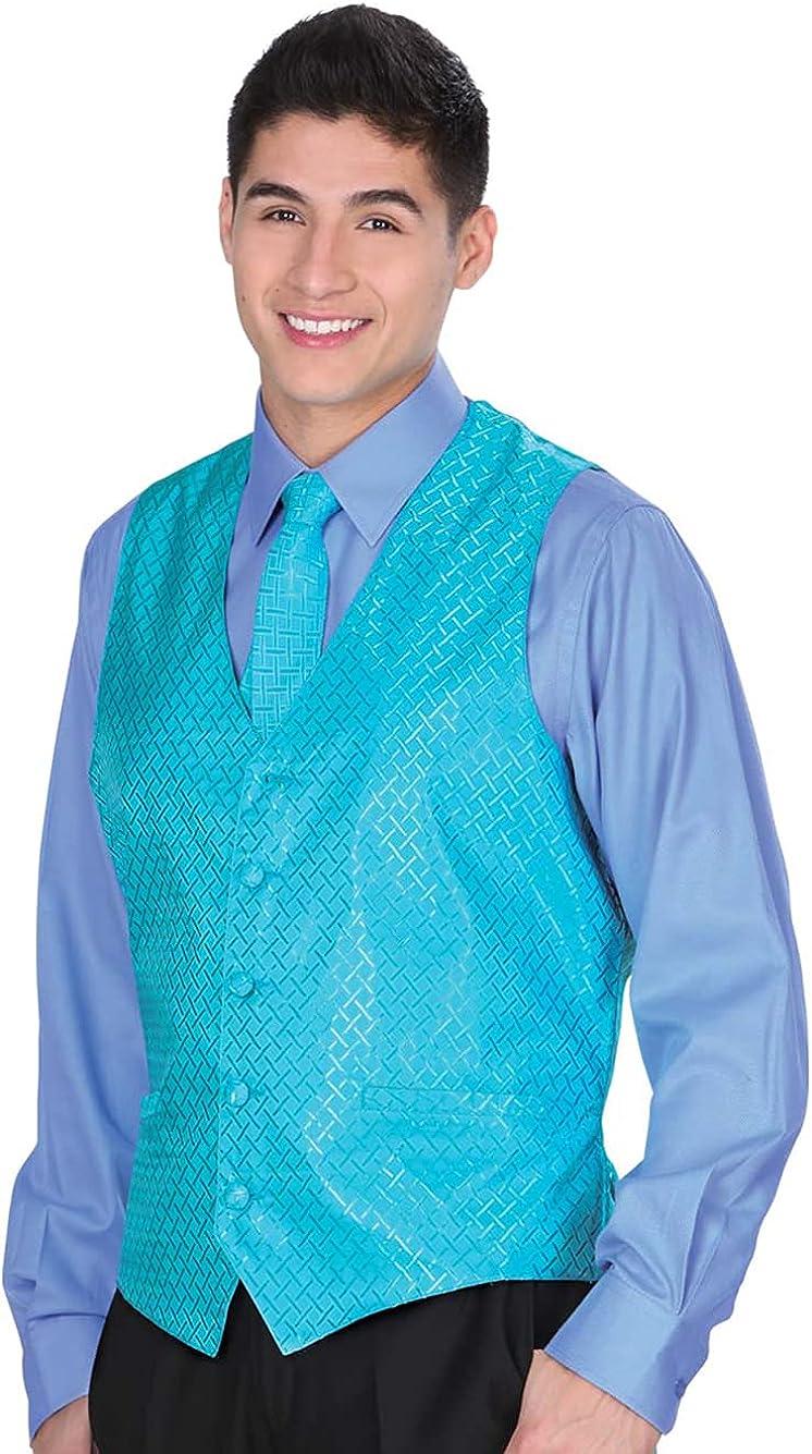 El General Men's Formal Dress Vest Color Light Blue 100% Polyester Five Button