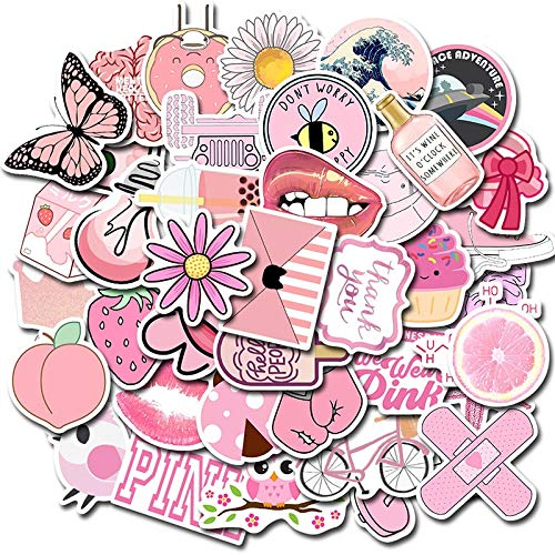 JINER Geométrico Lindo Rosa pequeño portátil Fresco Equipaje Graffiti Pegatinas decoración Impermeable 50 Piezas