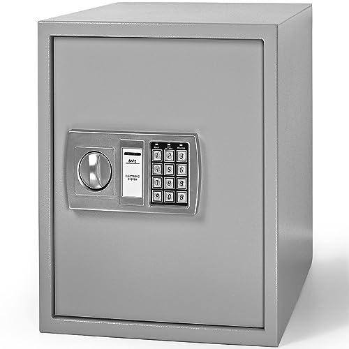 Deuba Coffre-Fort électronique Serrure à Combinaison Sécurité numérique Coffre Fort Code et clé Piles INCL. 35x40x40cm Gris