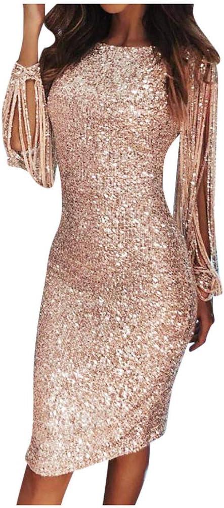 Detroit Mall YOMXL Womens Raleigh Mall Elegant Sequin Tassel Sleeve Cockt Bodycon Crewneck