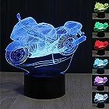 Lámpara de Ilusión Óptica 3D Motocicleta Luces de la noche del LED, FZAI Lámpara de mesa de mesa táctil Decoración hogareña 7 colores Efectos luminosos únicos para Regalo de la Navidad de los niños