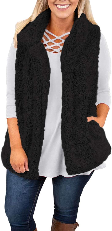 VamJump Women Sherpa Fleece Warm Open Front Sleeveless Vest Coat