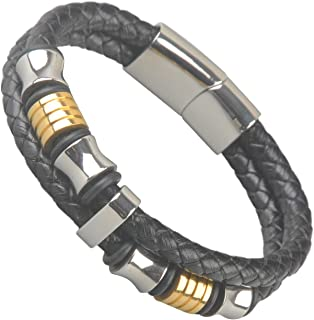 Ancient Tribe Genuine Leather Bracelet with Titanium Beads,Black,Man's,for a Wrist at 7""