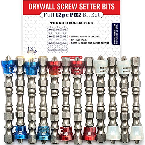 Magnetic Drywall Screw Setter Bit Set (PREMIUM 12pc SET) /w Storage Case and Bit Holder - Impact Ready Hex Shank Phillips Head PH2 Drill Driver Bits with Magnetic Collars for Drills