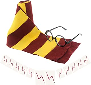 Harry Potter Scarf Wizard Glasses with Round Frame No Lenses 12 PCs Lightning Bolt Tattoos for Kids Christmas Birthday Par...