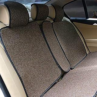 Funda de cojín para automóvil, piezas de automóvil, fundas delanteras y traseras, tela de lino, cojín de asiento, cojín de asiento de automóvil de cuatro estaciones ( Color Name : 1set Rear Brown )