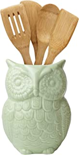 "Comfify Owl Utensil Holder Decorative Ceramic Cookware Crock & Organizer, in Lovely Green Color - Utensil Caddy and Perfect Kitchen Ceramic Décor Gift - 5"" x 7"" x 4"" Size"