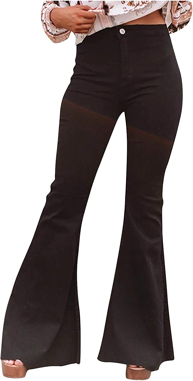 MIVAMIYA Women High Waist Bell Bottom Jeans Skinny Stretch Casual Denim Jeans Bootcut Flare Mom Distressed Jeans Pants