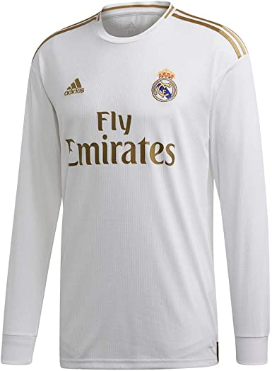 adidas Real Madrid Home 2019-20 - Camiseta de manga larga para hombre, color blanco y dorado