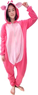 Pijama Kigurumi Lilo Stitch Pink Rosa Macacão com Capuz