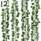 DazSpirit Plantas Hiedra Artificial 12 Piezas Hojas de Hiedra Guirnalda , 84 Ft Guirnalda Hiedra Artificial Decoración Interior y Exterior, De Jardín, Valla, Hogar, Boda, Escalera para Decoración