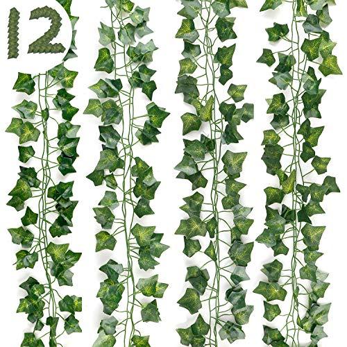 DazSpirit Plantas Hiedra Artificial 12 Piezas Hojas de Hiedra Guirnalda , 84 Ft Guirnalda Hiedra Artificial Decoración Interior y Exterior, De Jardín, Valla, Hogar, Boda, Escalera para Decorac
