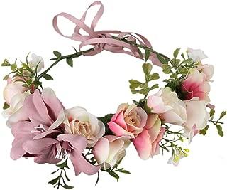 Adjustable Flower Headband Floral Garland Crown Halo Headpiece Boho with Ribbon Wedding Festival Party