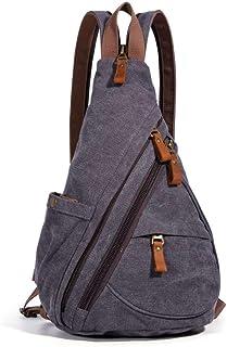 Genuine Leather Canvas Waxed Backpack Large School Bag Travel Rucksack Laptop Bag