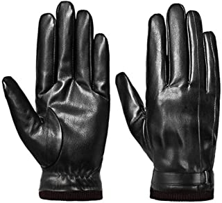 Mens Leather Gloves Touchscreen Winter Black Gloves Warm Texting Driving Gloves
