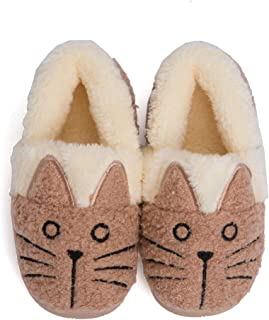 Plzensen Girls Cute Cat House Slippers Kids Fur Lined Warm Winter House Slippers Bunny Home Indoor Shoes