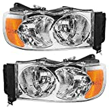 Halogen Headlights Headlamps Driver and Passenger Replacements for 02-05 Ram Pickup Truck 55077121AF...