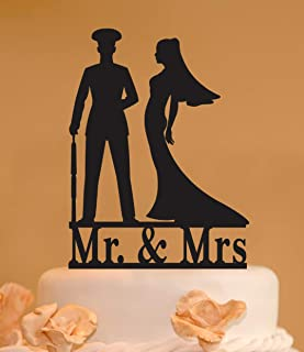 Usmc Mr. And Mrs. Wedding Cake Topper - Marine And Bride Wedding Cake Topper - Custom Mr. & Mrs. Wedding Topper - Marine And Bride Topper -