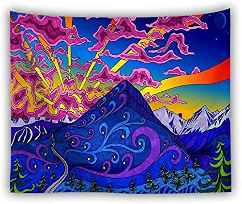 JXZIARON Tapiz Art Paño para Colgar en la Pared Impresión HD Cocina Dormitorio Sala de Estar Decoración,Trippy Psychedelic Cat and Fish Waves Art Print Room Decor 100cm x 150 cm -1