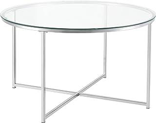 Table Basse pour Salon Table Ronde Design Plateau en Verre Pieds Croisés en Acier 80 x 48 cm Argenté