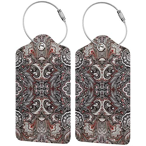 Vintage Paisley Floral Personalized Leather Luxury Suitcase Tag Set Travel Accessories Luggage Tags