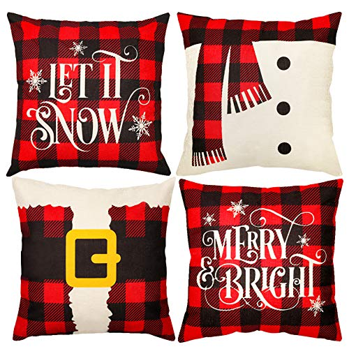 D-FantiX Christmas Pillow Covers Set of 4, 18 x 18 Inch Christmas Pillow Cases Decorations, Plaid Linen Cushion Decorative Throw Pillow Covers, Square Pillowcase for Home Office Living Room Xmas Decor