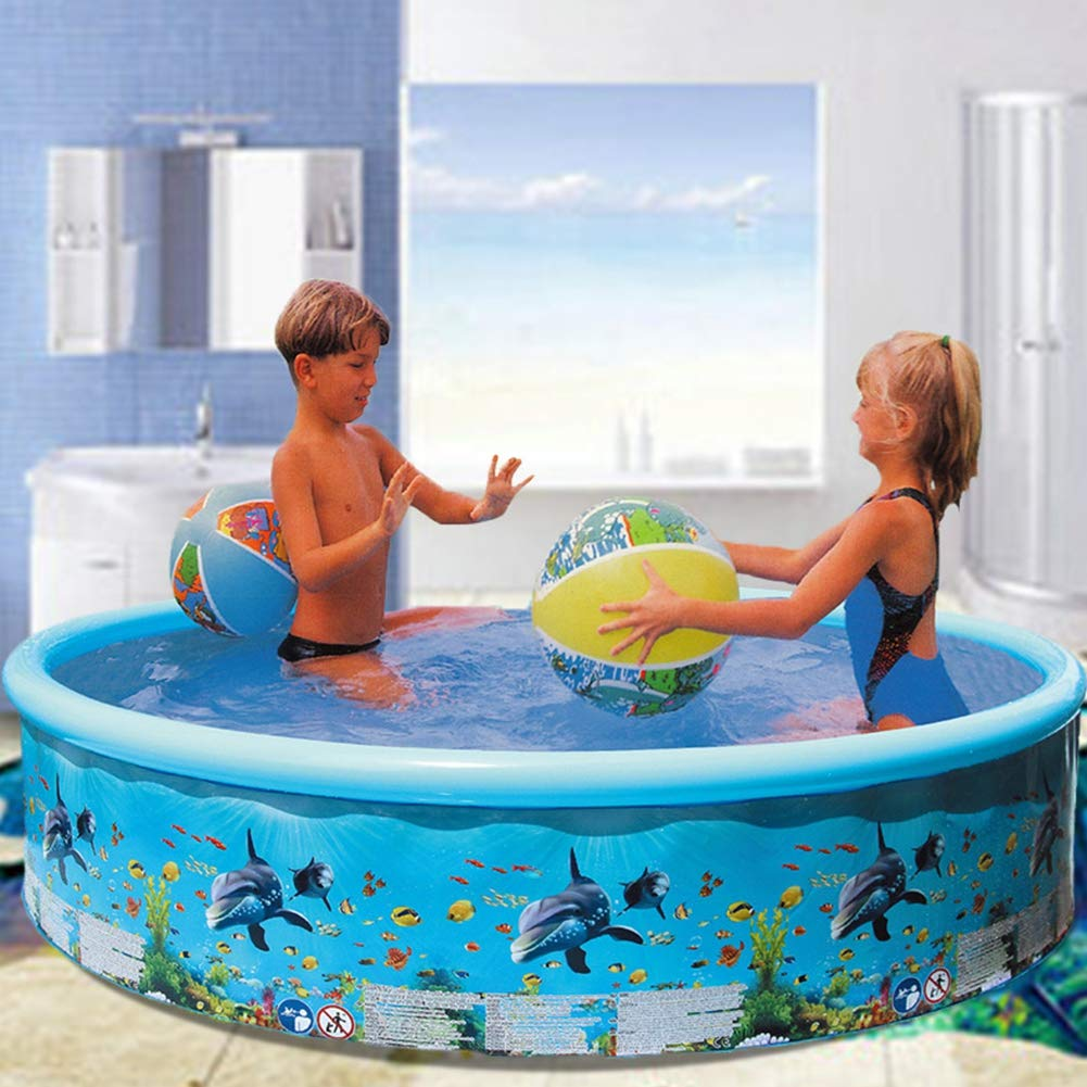 CB Round Swim Centre Family Inflatable Pool Kids Family Swimming Paddling Pool Oceanarium Summer Indoor and Outdoor Garden Party Fun Parent-child Game Wonderful Gift for Kid Afternoon 125/×25cm Blue