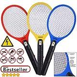 Deuba 3X Elektrische Fliegenklatsche Insektenvernichter | 3er Set Insektenfalle Fliegenfänger | effizient & sicher