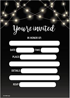 Wedding Party Invitations 5x7 50ct You`re Invited Rustic Black Chalkboard Lights Theme Fill in invitation Bridal Shower Ba...