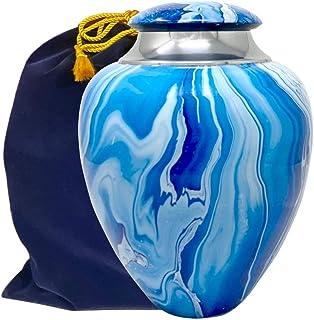 Handcrafted Olympus Blue Cremation Urn for Ashes, Adult Swirl Blue Urn, Large Solid Metal Blue Waves Urn, Ocean Tides Memorial Urn with Velvet Bag