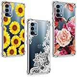 (3 Pack) OnePlus Nord N200 5G Case, Shock-Absorption Anti-Scratch Crystal Clear Soft TPU Bumper Protective Phone Case Cover for OnePlus Nord N200 5G 6.49 inch, White Flower, Sun Flower, Purple Flower