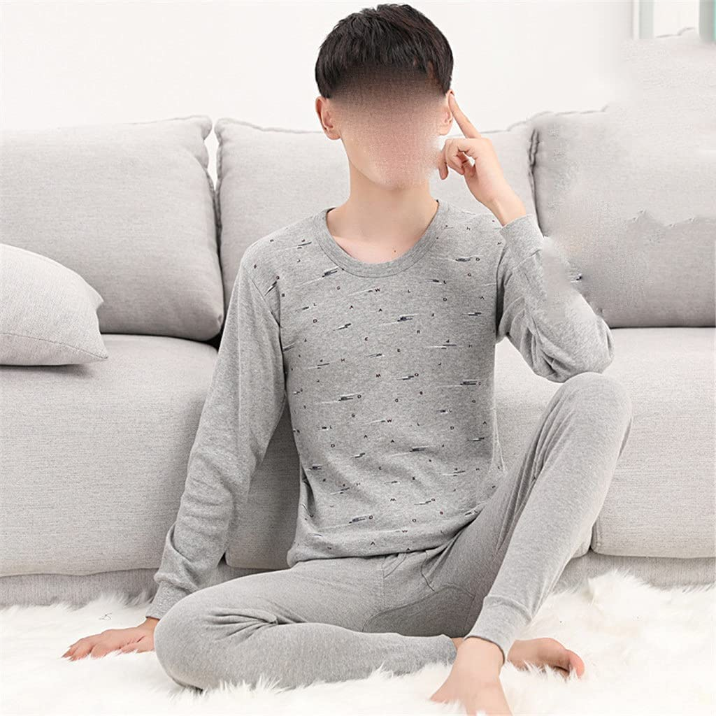 ZSQAW Two-Piece Men's Thermal Underwear Thin Suit Youth Cotton Sweater Shirt Underwear (Color : A, Size : 2XL Code)