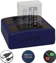 Caricabatteria doppio Compact (USB) per Canon NB-10L - PowerShot G15, G16, G1 X, G3 X, SX40 HS, SX50 HS, SX60 HS - Cavo USB micro incluso (2 batterie simultaneamente caricabili)