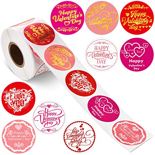 Valentine's Day Stickers Happy New Year Stickers Thank You Seal Stickers Inspirational Quote Stickers Snowflake Label Stickers (Valentine's Day Theme, 500 Pieces)