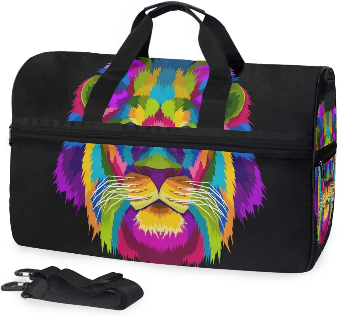 Sports Swim Gym Bag with Overseas Max 63% OFF parallel import regular item Shoes Wee Colorful Art Lion Compartment