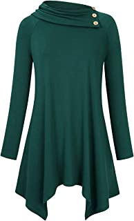 Women's Plus Size Solid Cowl Neck Raglan Long Sleeve Casual Tunic Blouse Top with Pockets