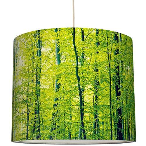 Anna Wand Lampenschirm/Hängelampe Design GRÜNER Wald – Schirm für Lampen mit Wald-Motiv in Grün – Sanftes Licht auch für Tischleuchte oder Stehlampe – ø 40 x 34 cm