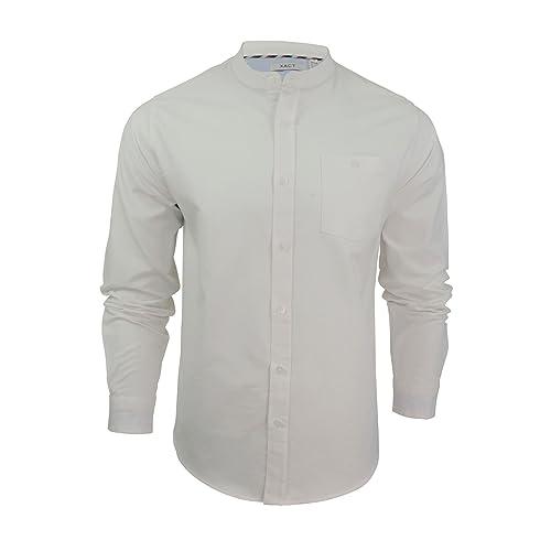 49e284a248f187 Xact Mens Grandad Collar Oxford Shirt 'Augustus' Long Sleeved