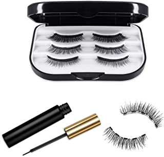 Magnetic Eyelashes, Magnetic Eyeliner and Magnetic Eyelash Kit -Eyelashes With Natural Look - Upgraded 3D Magnetic Eyelashes Kit With Tweezers Inside - No Glue Needed [3 Pairs]
