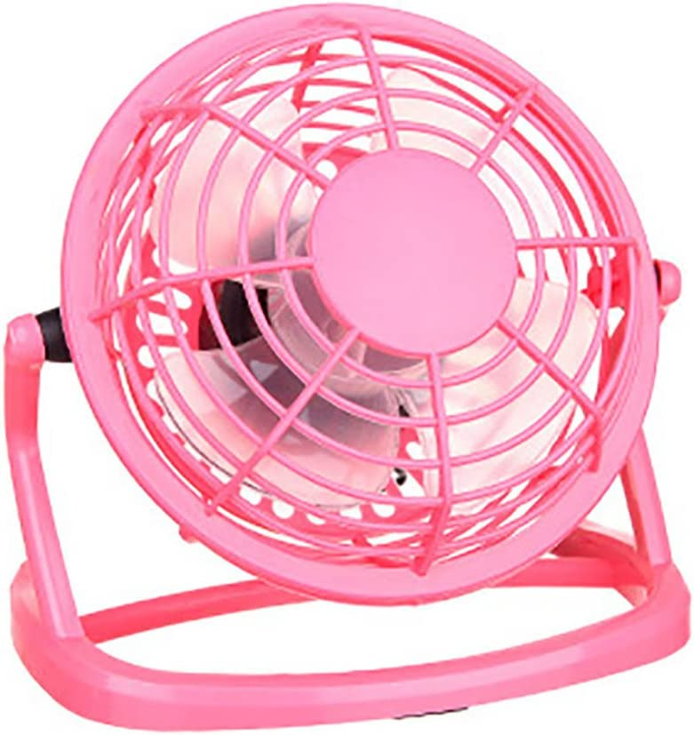 HuntGold Mini Table Desk Fan Portable Plastic Personal Cooling Cooler USB Plug with Key Switch-Pink
