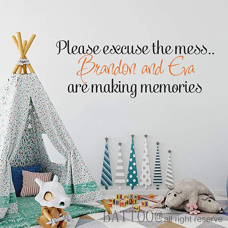 Kids Wall Decal Large Please Excuse The Mess Children Are Making Memories Vinyl Decal Personalized Decal For Playroom Plus Free Hello Door Decal 50 Wide 18 5 Tall