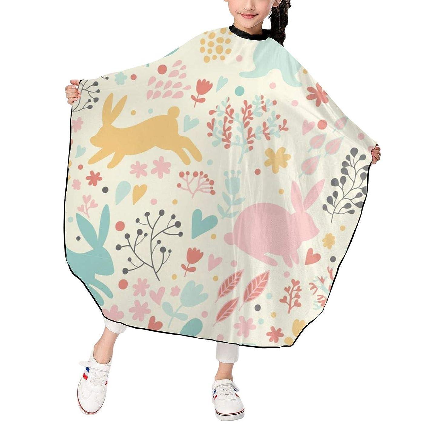 ダイジェストまあむき出しウサギと花柄 シルエット 散髪ケープ ヘアーエプロン キッズ ヘアカット 自宅 美容室 理髪 操作やすい 散髪 撥水加工 静電気防止 柔らか 滑らか 高級感 ファッション 男女兼用 プレゼント