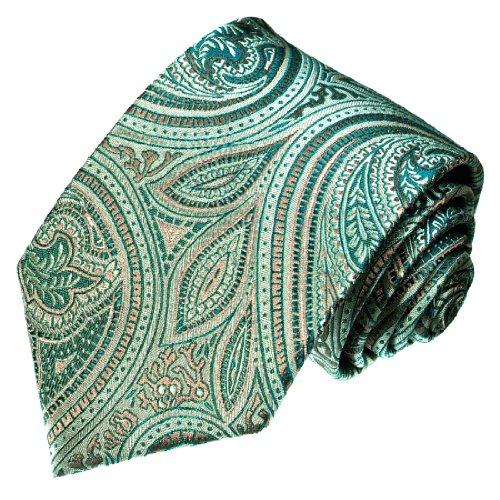 Lorenzo Cana - Designer Krawatte aus 100% Seide Paisley Silber Gold Petrol Türkis Aqua - 36090